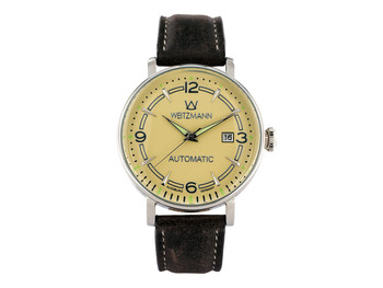 Retro silver/gold, leather strap