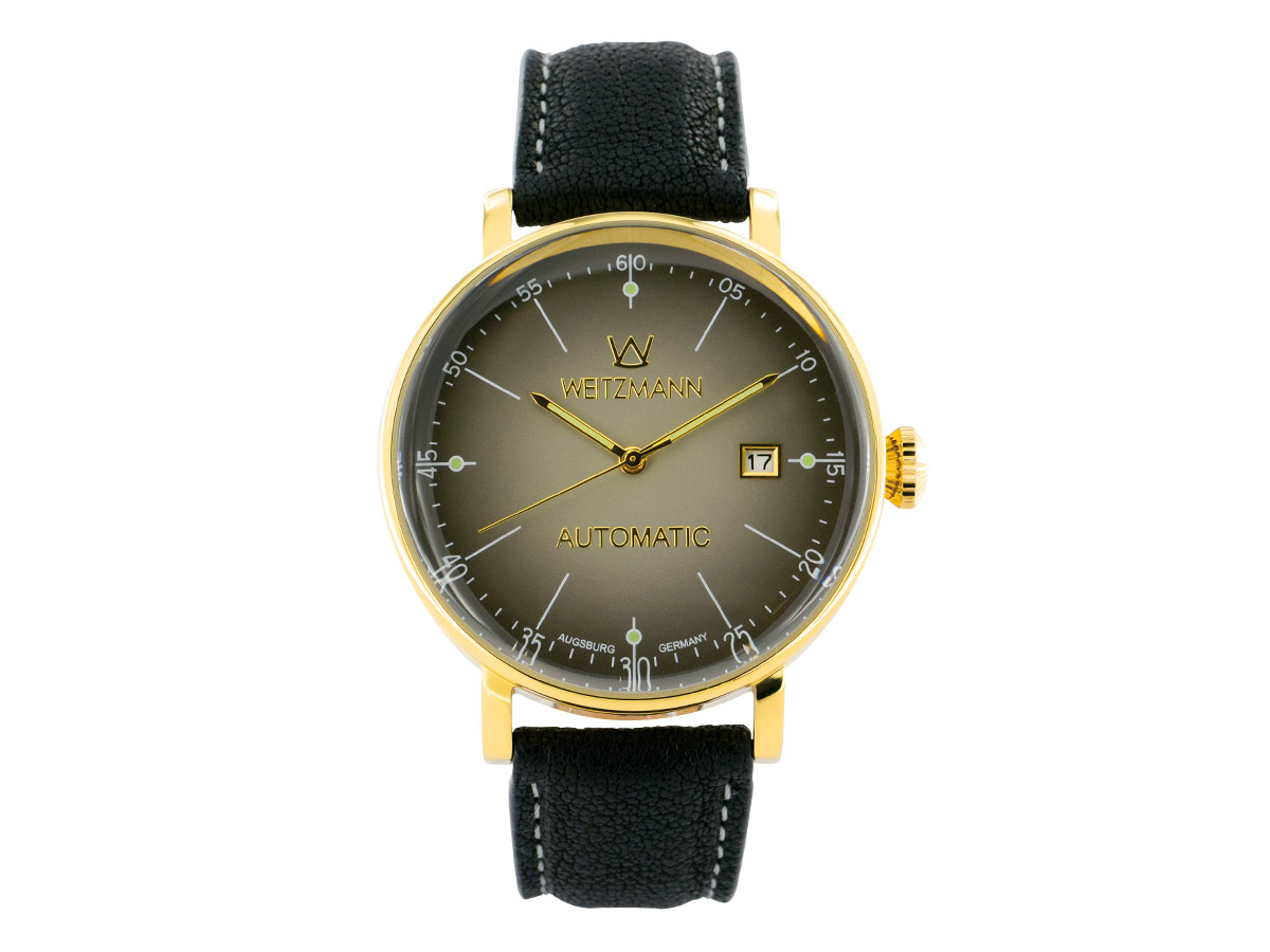 Antik gold/black, leather strap