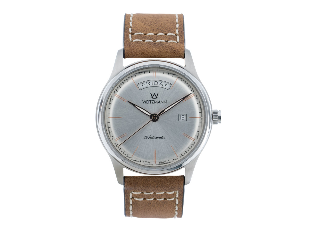 Sublime silver, leather strap